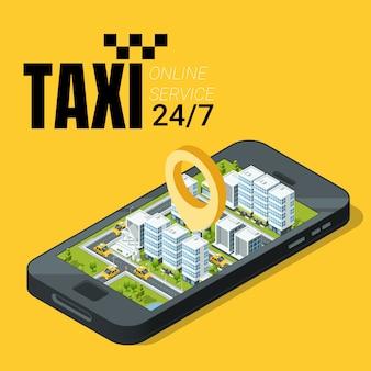 Concepto de servicio de taxi. smartphone con paisaje isométrico de la ciudad. ilustración vectorial