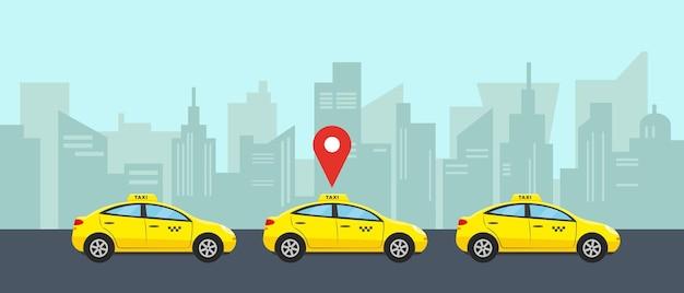 Concepto de servicio de taxi. tres autos amarillos en la ciudad para elegir y alquilar.