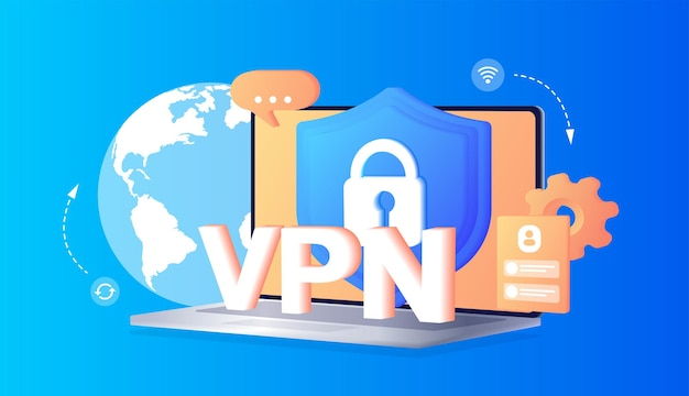 Concepto de servicio vpn mediante vpn para proteger sus datos personales en la red privada virtual de la computadora