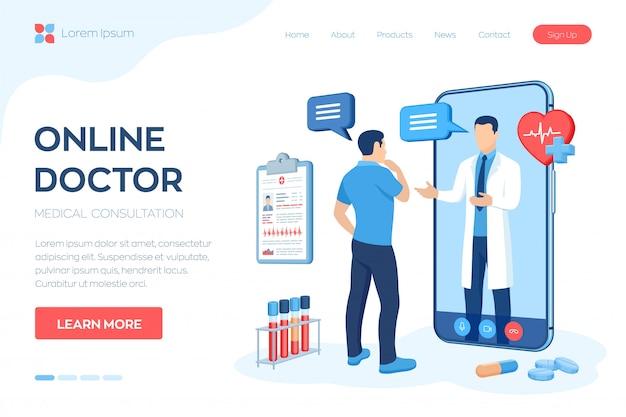 Concepto de servicios de apoyo y consulta médica en línea.
