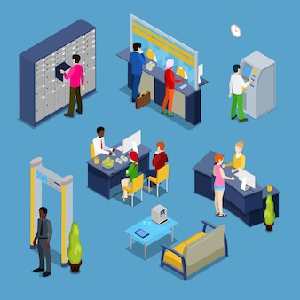 Concepto de servicios bancarios. interior del banco con clientes y banqueros.