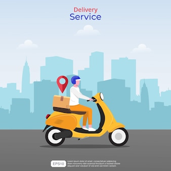 Concepto de servicios de entrega rápida en línea. ilustración de hombre de mensajería con scooter amarillo y el icono de navegación.