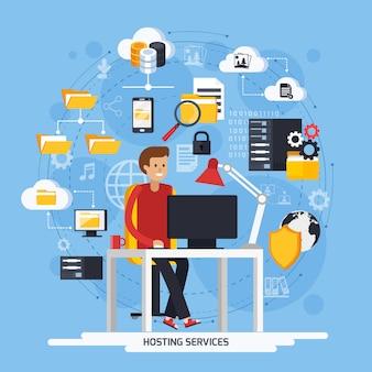 Concepto de servicios de hosting