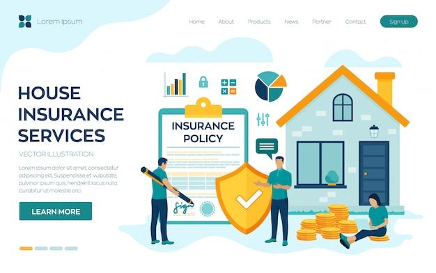 Concepto de servicios de negocios de seguros de casa. protección de bienes inmuebles residenciales.
