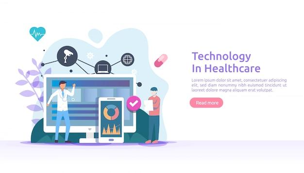 Concepto de servicios de salud de telemedicina. tratamiento de consulta en línea con el médico mediante la aplicación. tecnología innovadora de diagnóstico médico. ilustración plana para página web y sitio web móvil