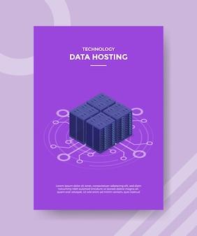 Concepto de servidor de alojamiento de datos para banner de plantilla y volante con estilo isométrico