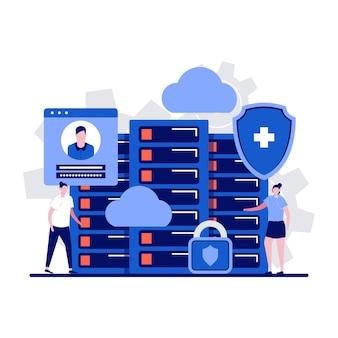 Concepto de servidor de datos con carácter. almacenamiento de información informática, equipo de hardware.