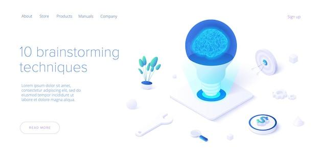Concepto de sesión de lluvia de ideas en diseño isométrico. plantilla de banner web