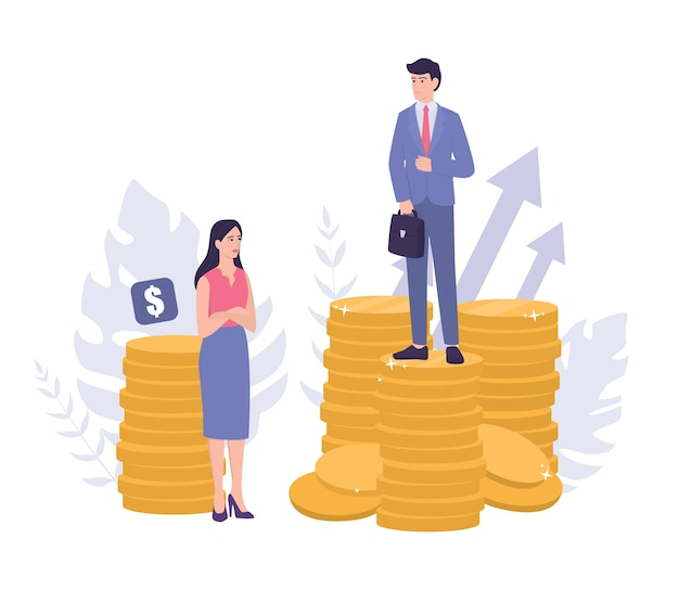 Concepto de sexismo empresarial. brecha de género y desigualdad de pago. empresario y empresaria en montones de monedas. injusticia y problema de carrera de la mujer.