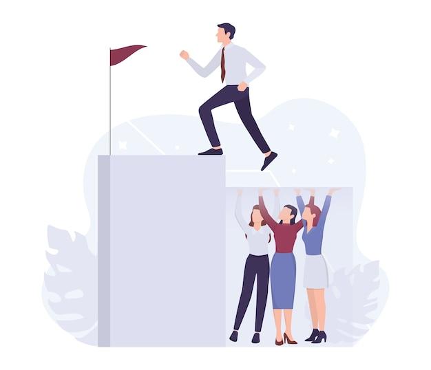 Concepto de sexismo empresarial. techos de cristal y problemas de discriminación en el lugar de trabajo para la mujer. empresario subiendo una escalera profesional. .