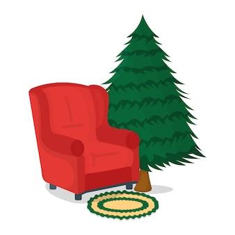 Concepto de sillón, mesa y árbol de navidad.