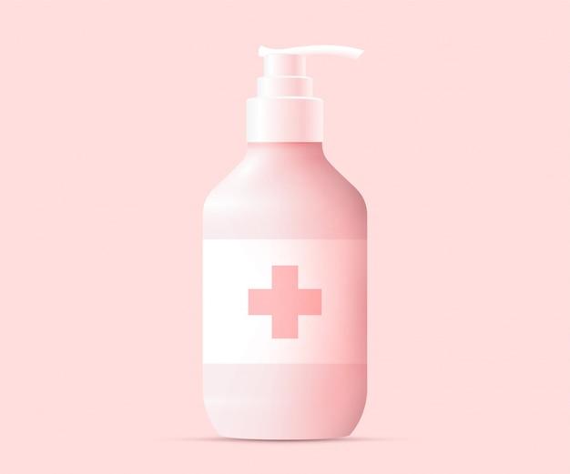 Concepto de silueta de botella de gel de alcohol desinfectante de manos. concepto de desinfección de manos. ilustración.