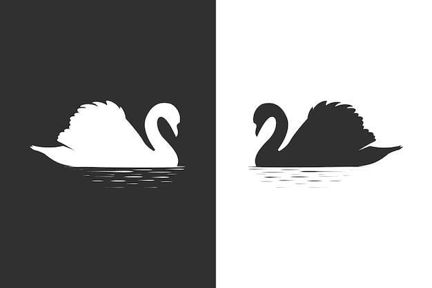 Concepto de silueta de cisne
