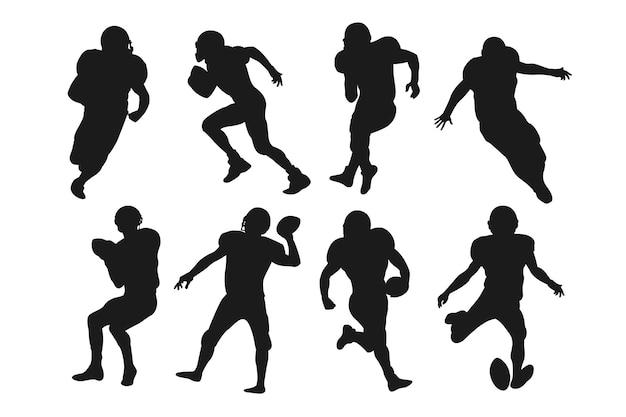 Concepto de siluetas de fútbol americano