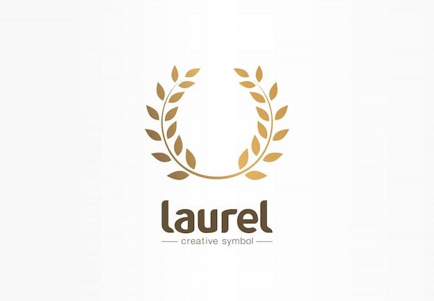 Concepto de símbolo creativo de corona de laurel dorado. premio, victoria, ganador, éxito idea de logotipo de empresa abstracta. trofeo, rama, icono de borde de hoja.
