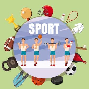 Concepto de símbolos de la sección de deporte, estilo de dibujos animados