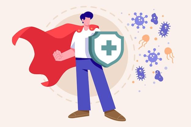 Concepto de sistema inmunitario con escudo