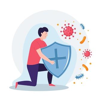 Concepto de sistema inmunitario con hombre y escudo