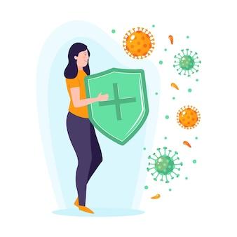 Concepto de sistema inmunitario con mujer y escudo