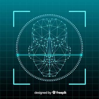 Concepto de sistema de reconocimiento facial abstracto.