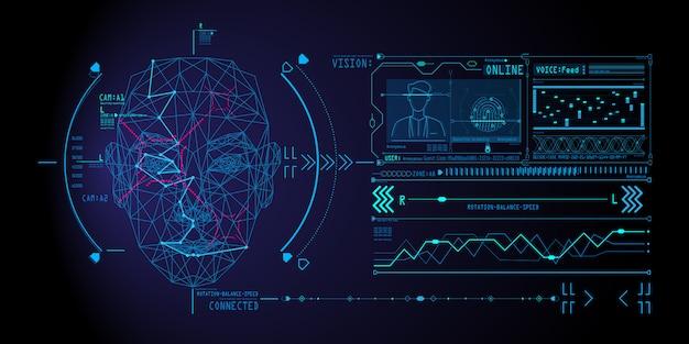 Concepto de sistema de reconocimiento facial con escaneo de rostro humano de polígono bajo.