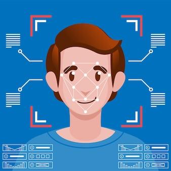 Concepto de sistema de reconocimiento facial de identificación facial.