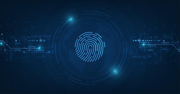 Concepto de sistema de seguridad abstracto de vector con huella digital sobre fondo de tecnología.