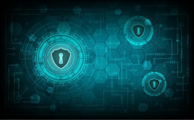 Concepto de sistema de seguridad de tecnología con escudo y ojo de la cerradura