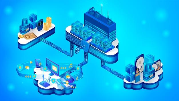 El concepto de un sistema seguro de almacenamiento en la nube.