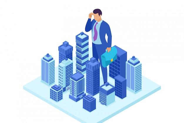 Concepto de sitio brillante isométrica gran empresario mira hacia abajo en la ciudad, el concepto de poder. concepto para diseño web