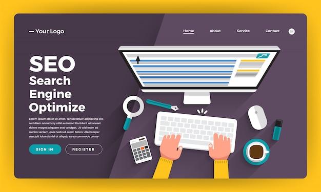 Concepto de sitio web análisis de seo con gráficos y tablas sobre el desarrollador del equipo que construye un sitio web de rango en el escritorio. ilustración.