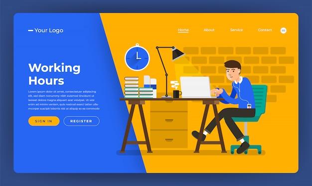 Concepto de sitio web horas de trabajo trabajador en lugar de oficina. ilustración.