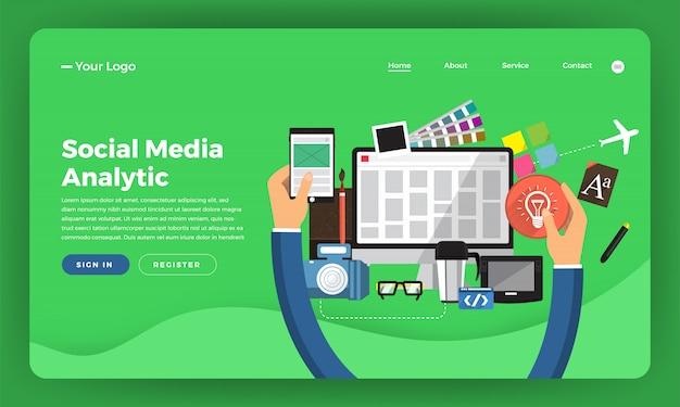 Concepto de sitio web marketing digital. desarrollo de diseño web. ilustración.
