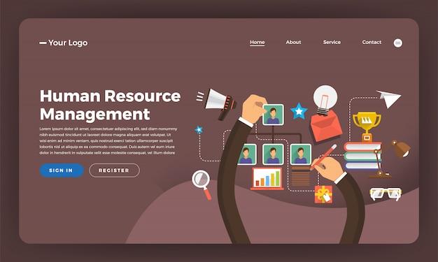 Concepto de sitio web marketing digital. gestión de recursos humanos. ilustración.