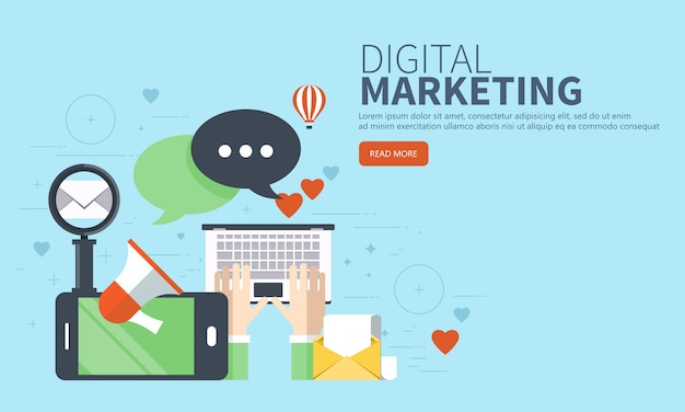 Concepto de sitio web de marketing digital