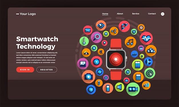 Concepto de sitio web smartwatch tecnología portátil. ilustración.