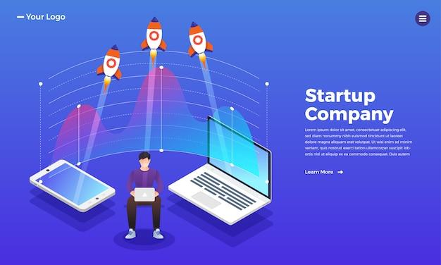 Concepto de sitio web stratup rocket subida de la computadora. ilustración.