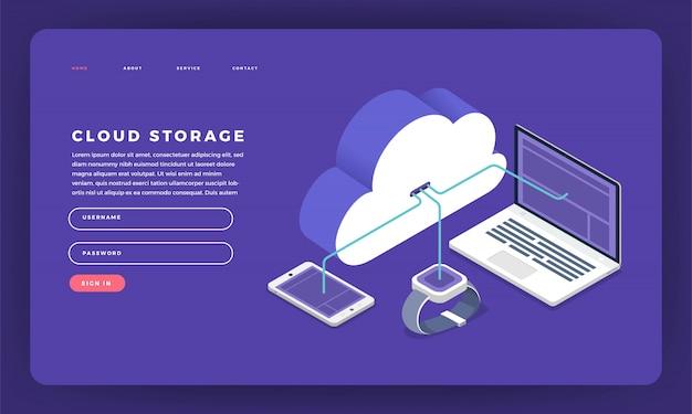 Concepto de sitio web tecnología de computación en la nube usuarios configuración de red isométrica. ilustración.