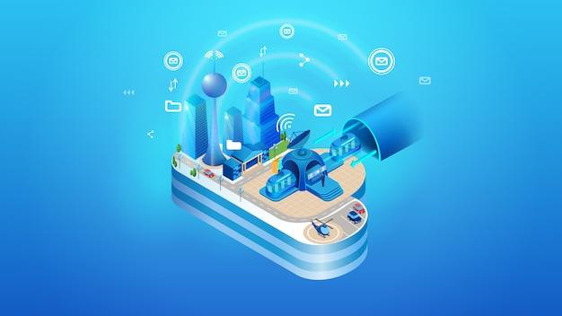 El concepto de smart city cloud inteligente.