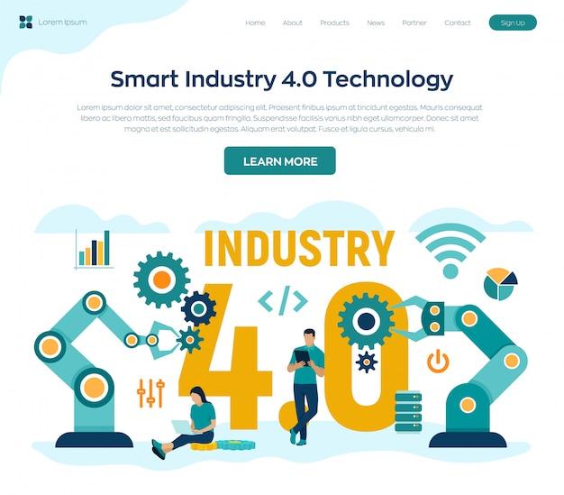 Concepto smart industry 4.0. pasos de revoluciones industriales.