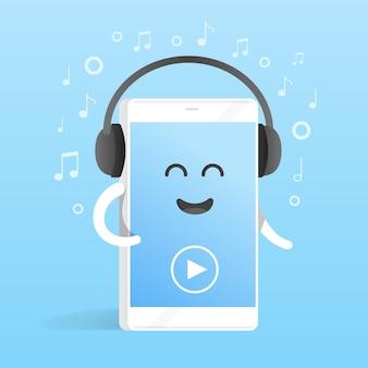 Concepto de smartphone de escuchar música con auriculares. fondo de notas. teléfono de personaje de dibujos animados lindo con manos, ojos y sonrisa.
