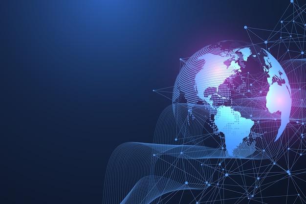 Concepto social de conexión de red global. visualización de big data.