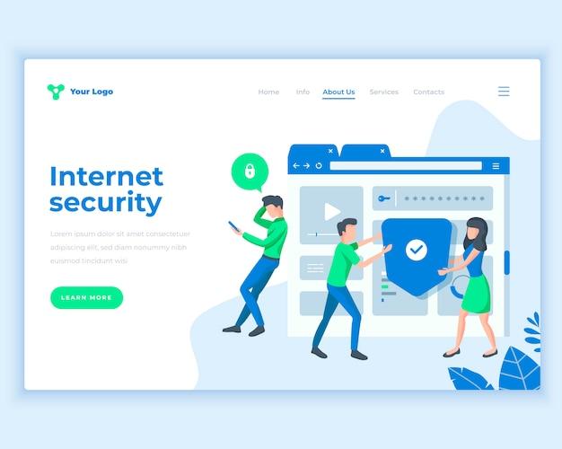 Concepto social de la seguridad de internet de la plantilla de la página de aterrizaje con la gente de la oficina.