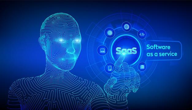 Concepto de software como servicio en pantalla virtual