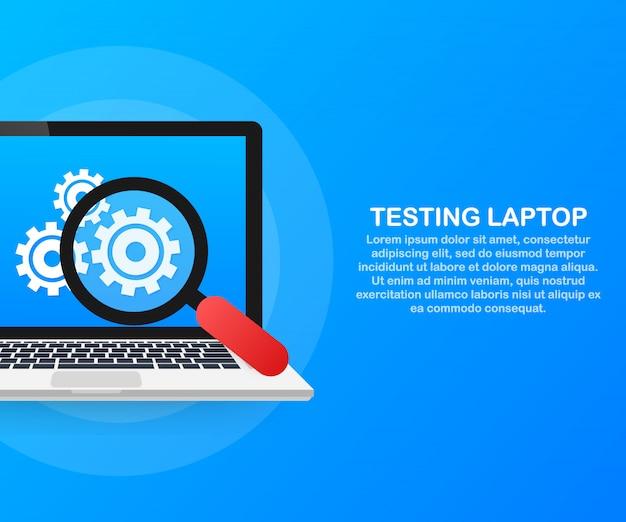 Concepto de software de prueba con laptop y engranajes de rueda.