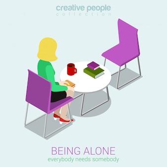 Concepto de soledad. la mujer se sienta sola en la mesa de café frente a la ilustración isométrica de la silla vacía