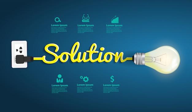 Concepto de solución, plantilla de diseño moderno, idea creativa de bombilla