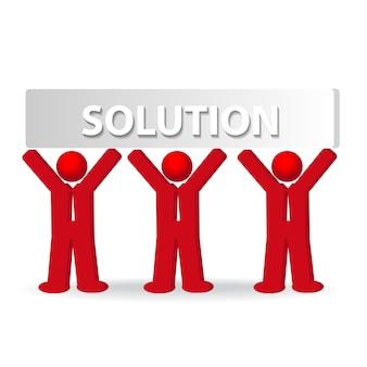 Concepto de solución con tres hombres de negocio