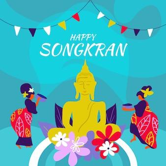 Concepto de songkran dibujado a mano