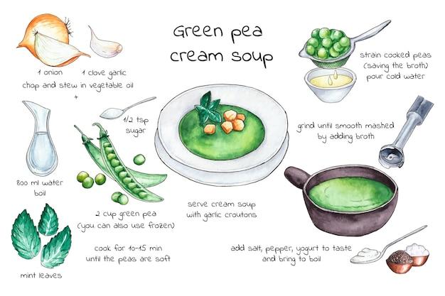Concepto de sopa de crema de guisantes verdes